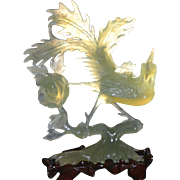 Delicate Carved Phoenix and Chrysanthemum in Serpentine : China Circa 1960