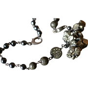 Harmonizing Pyrite and Hematite Necklace with Titanium