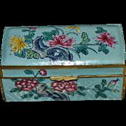 Famille  Verte Enamel Stamp Box: Circa 1930's China