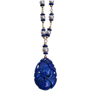 Lapis Lazuli Necklace with Cultured Pearls and 14 Karat Gold