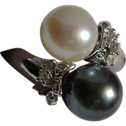 "Elegant ""Tu y Yo"" Cultured Pearl  and Diamond Ring in 14 Karat White Gold"