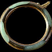 Jadeite Bracelet with 14 Karat Gold Circa 1975 Hong Kong