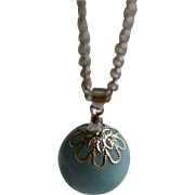 Larimar Drop Pendant with Sterling Silver chain