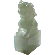 Late Qing Dynasty Jadeite Foo Dog Chop with signature