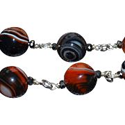 Spectacular Bulls Eye Agate Beads with Sterling Silver and  Czechoslovakian Crystal : Artisan