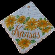 Vintage Kansas State Hankie Handkerchief1950's