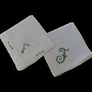 "Hankies Two Monogram ""F"" Embroidered"