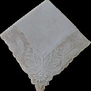 Vintage Bridal Hankie Ecru Lace