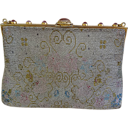 Vintage Steel Bead Handbag Purse Ornate Frame Multi-colored