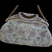 French Hand Beaded 1950's Handbag Purse Ornate frame