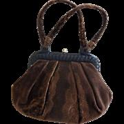 SALE Brown Velvet Velveteen Handbag Purse Never Used