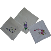 SALE Hankies Violets White Background