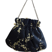 Handbag Purse Black Silk~Gold Blossoms~Pristine
