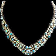 SALE Vintage Aurora Borealis Necklace Blue Gold