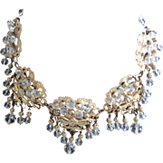 Napier Crystal and Gold Tone Ornate Evening Necklace