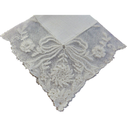 Hankie Bridal Cream French Lace Ribbon & Floral design MINT