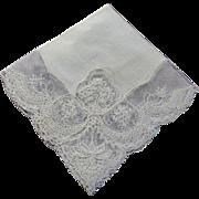 Hankie Bridal Irish Linen Cream Color Scallopped Floral Design