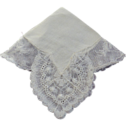 SALE PENDING Hankie Bridal Cream Color Mint Dramatic Corners