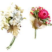 Vintage 1930s-40s Frabric Two Hat or Lapel Bouquets