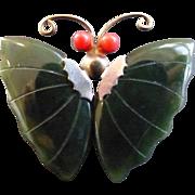 Vintage Jade Butterfly Wings Pin