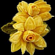Yellow Velvet Fabric Lapel Pin
