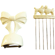 Vintage Cream Colored bow Barett and Poodle Dog Hair Comb