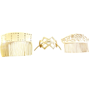 Vintage Hair Combs Three Styles Cream Colored