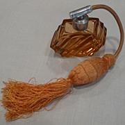 Coral Art Deco Perfume Bottle w/Elaborate Atomizer - Unused