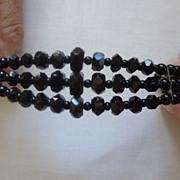 SALE PENDING Black Jet Three Strand Expandable Bracelet