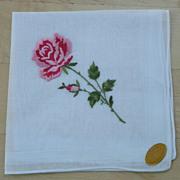 Vintage Embroidered Rose Hankie - Unused