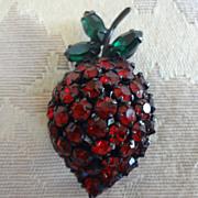 Warner Red Rhinestone Strawberry Pin