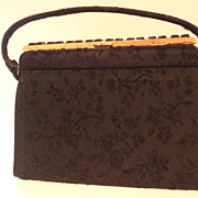 SALE Black Brocade Handbag with Ornate Faux Onyx Stone Frame Never Used
