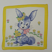 SOLD Vintage Childrens Hankie Bunny with Flowers