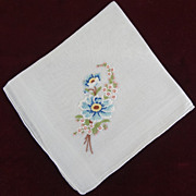 White Linen Hankie with Blue Petitpoint Flowers