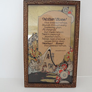 Vintage Mother's Day Plaque 1930's drawing & Poem