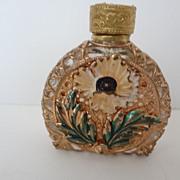 Vintage Small Ornate Goldtone Glass Perfume Bottle with Enameling