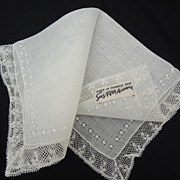 SOLD French Lace Hankie from Saks Fifth Ave Bride