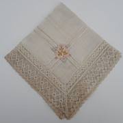 Hankie Victorian Silk, Lace, Embroidery, RARE