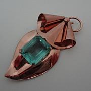 SALE Art Deco Rose Vermeil Sterling Aqua Stone Brooch