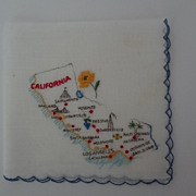 California Hankie Embroidered on White 1950's