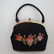 Black Silk Evening Bag Tambour Stitching PRISTINE