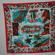 Fabulous 1950's Puerto Rico Graphics Scarf