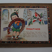 Raphael Tuck 1800's 4 Page Child's Christmas Card