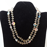 Clear Crystal and Gold Tone Accents Necklace 1950's