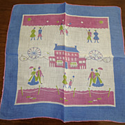 Hankie Emily Whaley Signature Colonial Scene 1950's