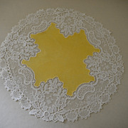 "Vintage Yellow White Lace Doile 11"" Round"