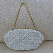 White Beaded Purse Handbag Bridal Pristine
