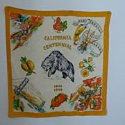 Vintage Scarf California Centennial 1848-1948 Silk Souvenir