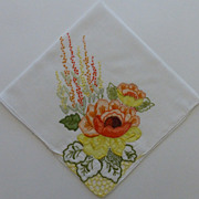 Vintage Hankie Orange, Yellow Flowers French Knots Beautiful