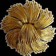 Vintage Monet Gold Tone Sunburst Pin Pristine